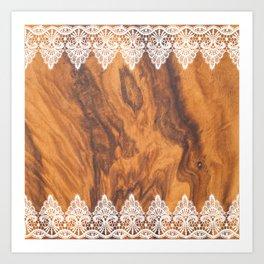 Brown Faux Wood& White Vintage Lace Art Print