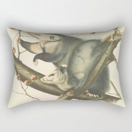 Vintage Illustration of Mother and Baby Possum - John James Audubon - 1840 Rectangular Pillow