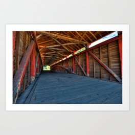 Wooden Tunnel - Barrackville Covered Bridges West Virginia Art Print