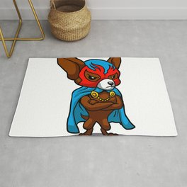 Cute dog chihuahua Fighter Lucha Libre Rug