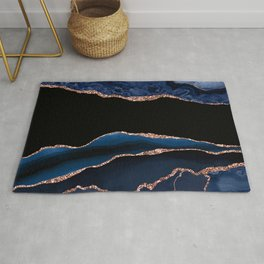 Indigo Blue and Rose Gold Marble Agate Rug