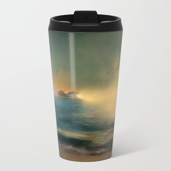 sunset beach  Metal Travel Mug