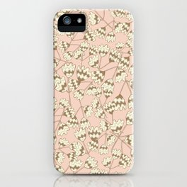 Beige Pale Pink Tangled Florals iPhone Case