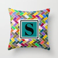 monogram Throw Pillows featuring S Monogram by mailboxdisco