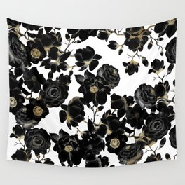 Modern Elegant Black White and Gold Floral Pattern Wall Tapestry