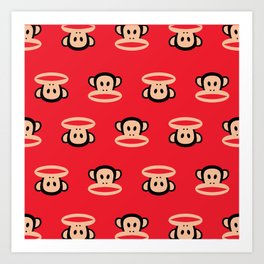 Julius Monkey Pattern by Paul Frank - Red Art Print