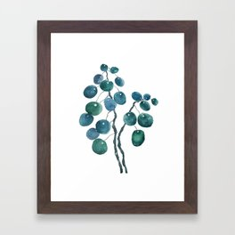 Chinese money plant watercolor Framed Art Print