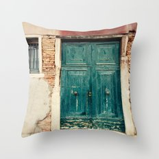 Turquoise Door in Venice Throw Pillow
