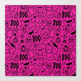 Spooky Pattern - Hot Pink Canvas Print
