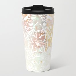 Wild white mandala on pink Travel Mug