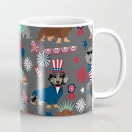 Dachshund july 4th patriotic dog breed pattern doxie dachsie lovers america Coffee Mug