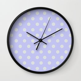 Blue Ultra Soft Lavender Thalertupfen White Pōlka Large Round Dots Pattern Wall Clock