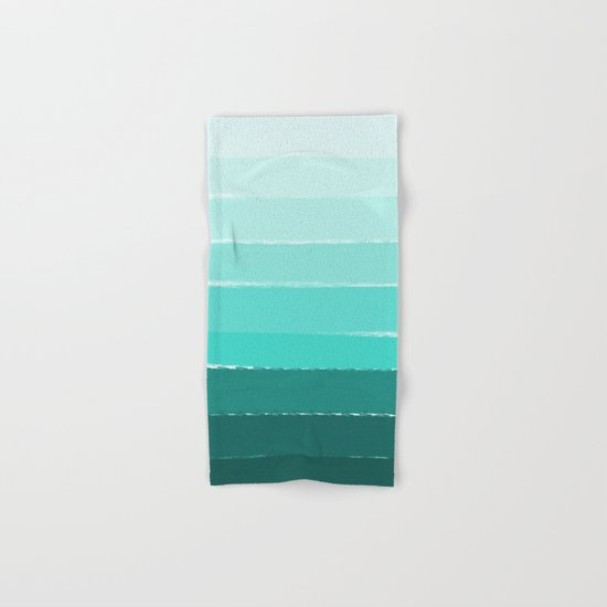 Ombre brushstrokes modern minimal ocean abstract painting wall art Hand & Bath Towel