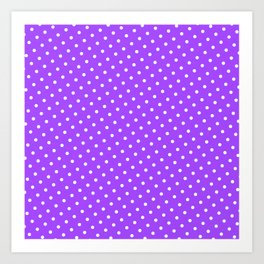 Pastel Goth Pastel Purple Retro Polka Dot (White) Art Print