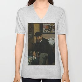 Edgar Degas - The Collector of Prints (1866) Unisex V-Neck