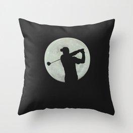Moon Golfer Throw Pillow