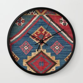 Vintage Woven Kilim // 19th Century Colorful Royal Blue Yellow Authentic Classic Ornate Accent Patte Wall Clock