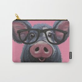 Pig with glasses art, Colorful pig art Carry-All Pouch