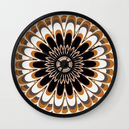 Black & Tan Full Bloom Flower Mandala Wall Clock