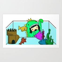 Rawr went Monstafishing... muh muh muh MONSTA FISH! Art Print