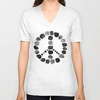 peace V-neck T-shirts featuring Peace by Elisabeth Fredriksson