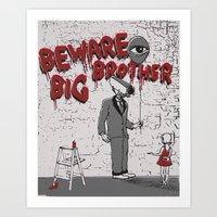 Beware Big Brother Art Print