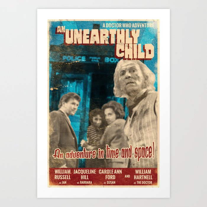 "Doctor Who ""An Unearthly Child"" Retro Vintage Movie Poster Art Print"