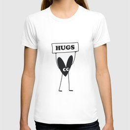 Hugs and kisses in black. Love sign for black hearts and kind love. Youngforever love T-shirt