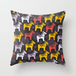 Dalecarlian Dala horse traditional wooden horse statuette originating in Swedish province Dalarna Throw Pillow