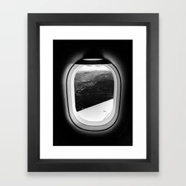 Window Seat // Scenic Mountain View from Airplane Wing // Snowcapped Landscape Photography Framed Art Print