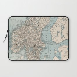 Vintage Map of Norway and Sweden (1893) Laptop Sleeve