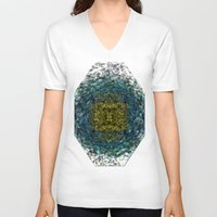 geode V-neck T-shirts featuring Geode Abstract 01 by Charma Rose