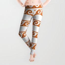 Orange Greek wave pattern Leggings