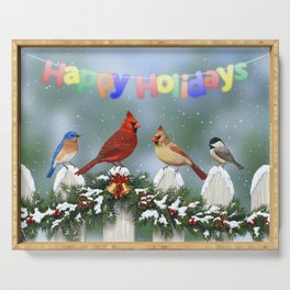 Christmas Birds and Garland Fence Serving Tray