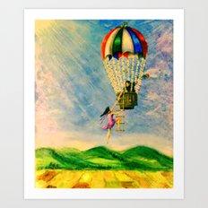 BALLOON LOVE: Flying Away Art Print
