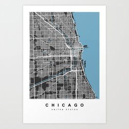 Chicago Map | Black & Blue Colors Art Print