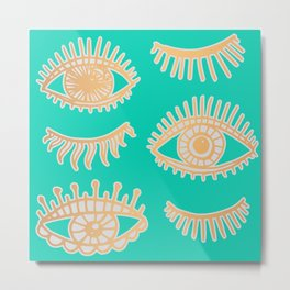 Evil Eyes Turquoise and Gold Metal Print