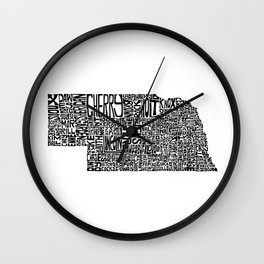 Typographic Nebraska Wall Clock