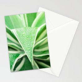 Green leaf photography Morning dew III Stationery Cards