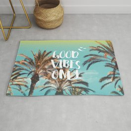 """""""Good Vibes Only."""" - Quote - Tropical Paradise Palm Trees Rug"""