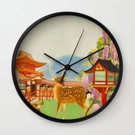 Vintage Mid Century Modern Japan Travel Poster Deer Red Pagoda Wisteria Garden Wall Clock