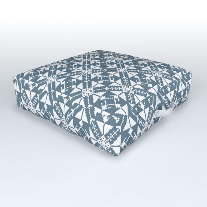 Blue Folk Outdoor Floor Cushion