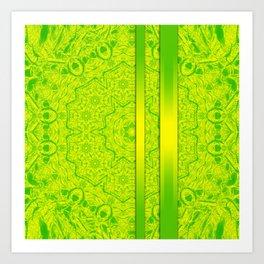 Vibrant green mandala and ribbons Art Print
