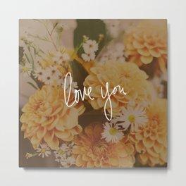 Love You x Orange Floral Metal Print