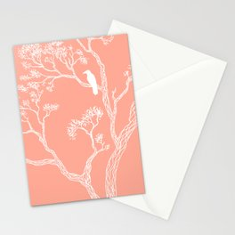 Crow in a tree peach color Stationery Cards