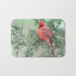 Christmas Bird (Northern Cardinal) Bath Mat