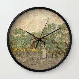 Women Picking Olives Wall Clock