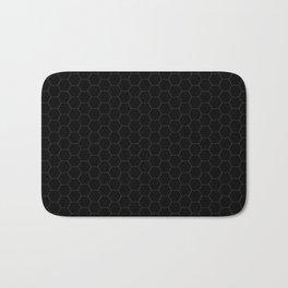Black Hexagons - simple lines Bath Mat