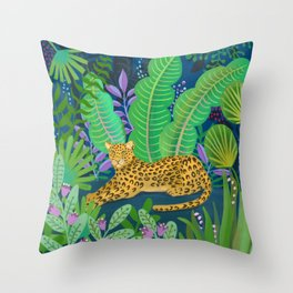 Jungle Leopard in the Evening Throw Pillow