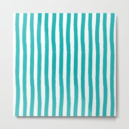 Turquoise and White Palm Beach Preppy Cabana Stripes Metal Print
